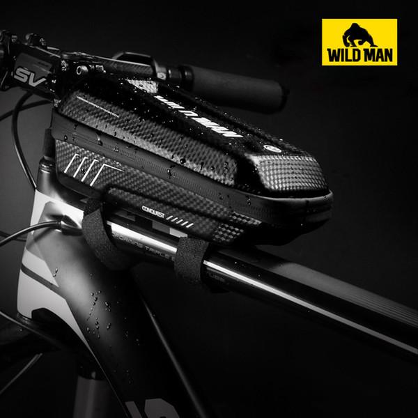 WILD MAN Outdoor MTB Road Bike Front Tube Frame Tools Bag EVA Hard Shell Bicycle Bag Waterproof Cellphone Equipment