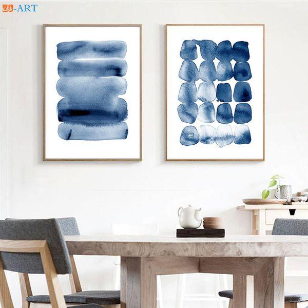 Suluboya Soyut Tuval Baskılar Duvar Sanatı Minimalist Boyama Donanma Mavi Büyük Posteri Mürekkep Fırça Inme Ev Dekor Çerçeveli