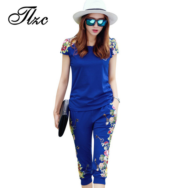 TLZC Fashion Flowers Printed Women Tracksuit Casual T-shirts + Pants Lady Clothing Suit Size L-4XL China Style Summer Lady Sets Y1891901