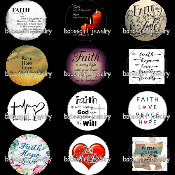 FAITH HOPE LOVE glass snap button photo print Phone Holder GS9680