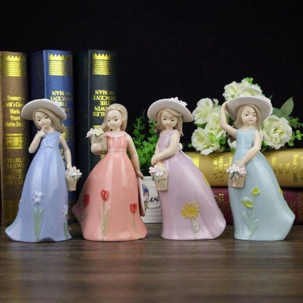 Ceramic Hat Girls lady figurines Home Decor crafts room decoration handicraft ornament porcelain figurines vintage statues