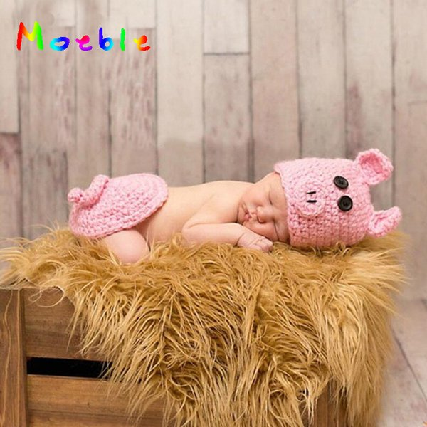 Hot Sale Newborn Baby Girls Pink Pig Outfit Knitted Infant Baby Photography Props Cartoon Costume For Girl Crochet Hat