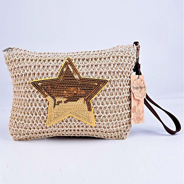 Triple Stone Sequined Star Shape Women Straw Purse Clutch Portable Small Flap Lady Handbag Pochette Weave Knitting Wristlets Bag