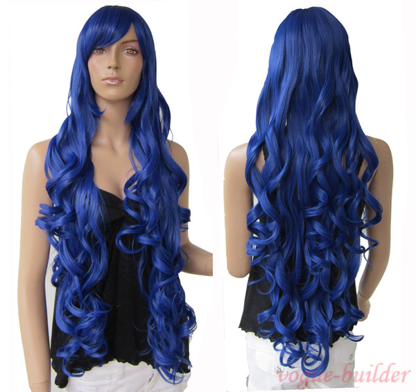 "33"" Heat resistant Long Bang Dark Blue Spiral Wavy Cosplay Party Hair Wig"