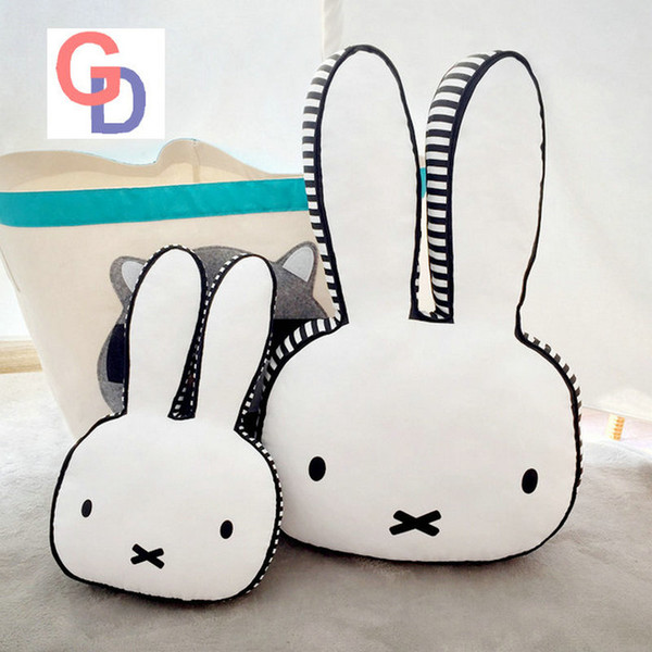 Ins hot Black and White Rabbit Face Plush Pillow Dog Milk Baby Bottle Plush Cushion Emoji Pillow Chair Cushion Home Sofa Decorat