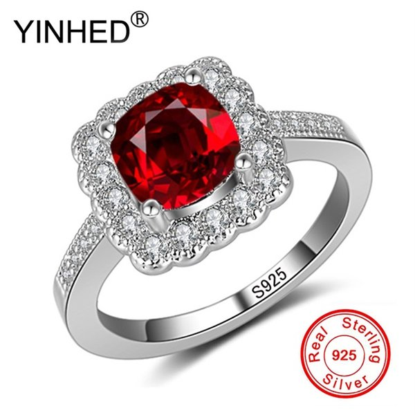 Fashion 1ct 6mm Natural Red Gem Stone Rings for Women Real 925 Solid Silver CZ Band Engagement Wedding Rings Gift