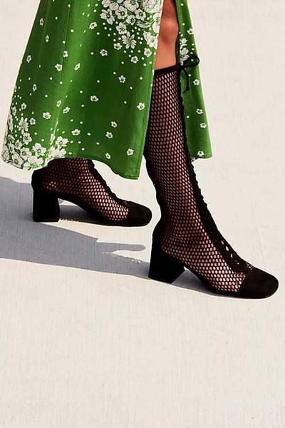 Mesh Black Cutout Criss Cross Fashion Flats Knee High Boots Summer Lace up Female Runway Sandals Flats Shoes 2018 Woman Gladiator Sandals