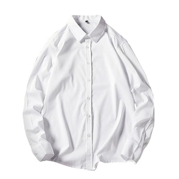 2018 Nueva camisa de vestir formal de color sólido clásico Trabajo camisa de manga larga blanca de color negro Hombres de negocios Hombres camisas sociales 5xl