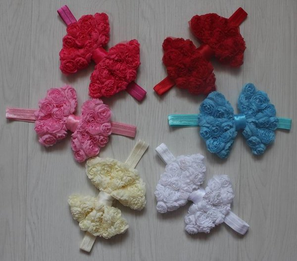 20pcs 4.5 inch large chiffon rosettes flower bow headbands for baby girls hair accessories,girls headband bow