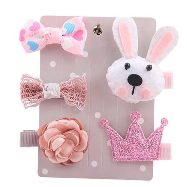 5pcs Korean children's hair accessories set cartoon animal hair clips all-inclusive cloth card baby safety clip #c