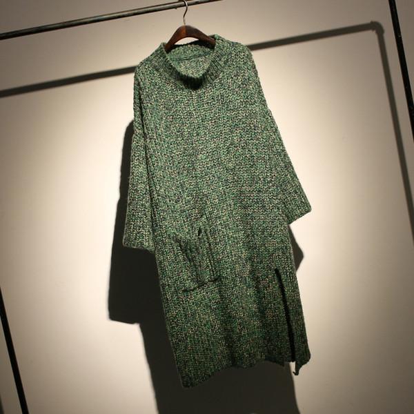 LANMREM 2018 Antumn New Motley Knitting Half Turtleneck Doble Bolsillos Simple Fashion Ladies Thick Loose Long Sweater EF436