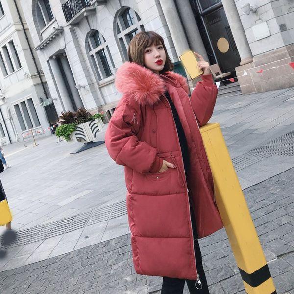 2018 Winter Women Long Parkas Coat Thick Big Fur Collar Warm Parka Outwear Solid Ladies Slim Snow Wear Hooded Parkas