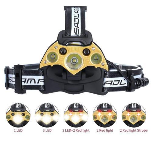 Super Bright 5LED 3T6 Headlamp High Power 6Modes USB Charging Headlights Adjustable Portable Camping Hunting Head Lamp Torch Waterproof