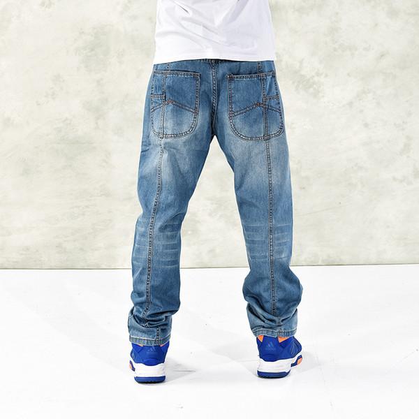 2017 nuevos hombres ocasionales de gran tamaño 42 44 46 vaqueros más el fertilizante para aumentar la individualidad de la moda Hip-hop jeans Loose