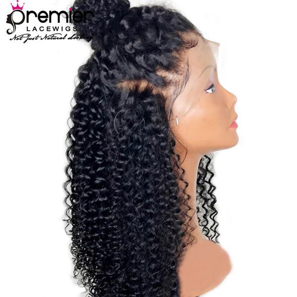 Premier Glueless Pelucas llenas del cordón Hairline natural con el pelo del bebé Pelos remy brasileños Pelucas rizadas Hairline natural con el Babyhair