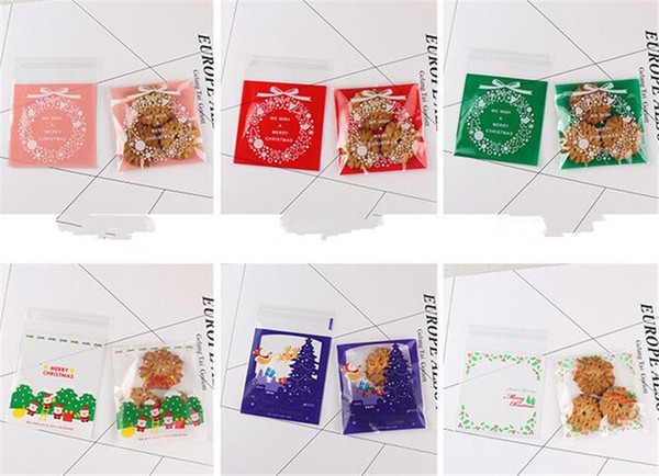 New Home 100 pcs/set Cute Cartoon Gifts Bags Christmas Cookie Packaging Self-adhesive Plastic Bags For Biscuits Birthday Candy Cake Package