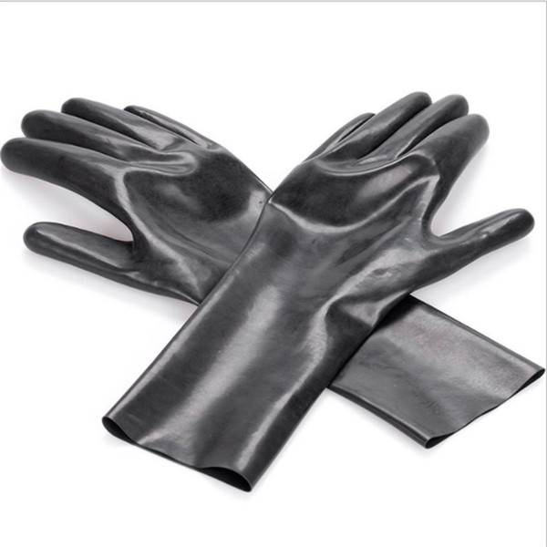 100%Latex Gothic Fetish Clubwear Long Gloves Women's Sexy Gloves Black Faux Leather Hip-hop Jazz Dancing Prop Mitts Adult Games Toys