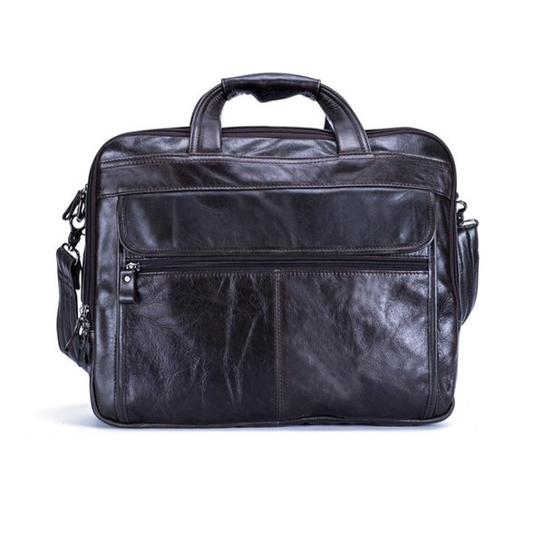 Nesitu Genuine Leather Mens Office Bag Men Briefcase Messenger Bags Business Travel Bag Portfolio 15.6'' Laptop #M9912