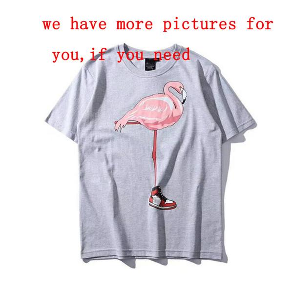 Brand Summer Mens Designer T Shirts Fashion Tide Mens Clothing Tops Fly-man Shirt Bird Flamingo Printed Crew Neck Sport Casual Women