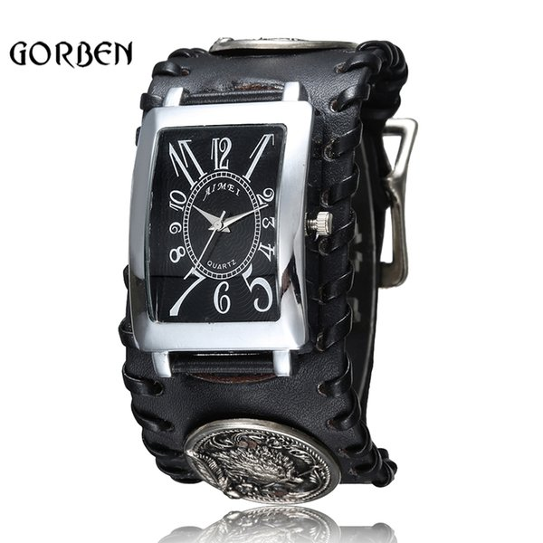retro gothic rock style punk wrist watch mens black leather wolf bracelet quartz mens watch gifts relogio masculino, Slivery;brown