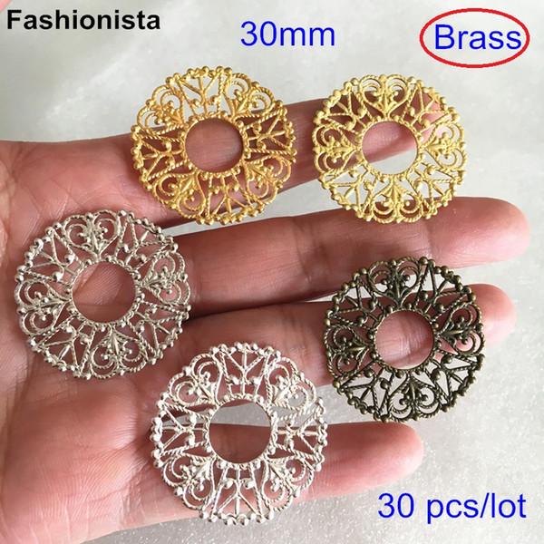 30 pcs Brass Filigree Ring Connectors,30mm Round Filigree Brass Charm Connectors,Gold-color,Silver-color,Bronze,Jewelry Supplies