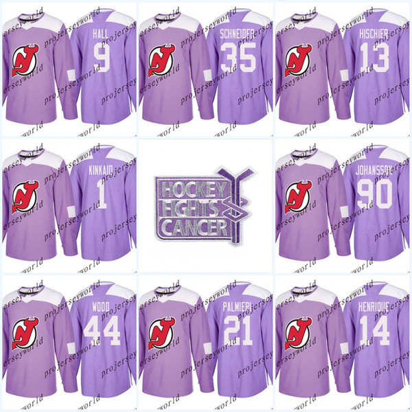 Womens 30 Martin Brodeur Purple Fights Cancer Practice New Jersey Devils 9 Taylor Hall 13 Nico Hischier 35 Cory Schneider Hockey Jerseys
