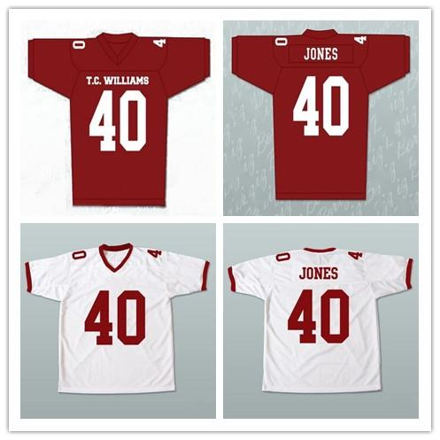 Custom XS-5XL REMEMBER THE TITANS MOVIE JERSEY PETEY JONES Red White Football Jersey Stitch Sewn Any Name Number Free Shipping