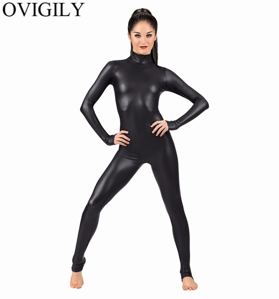 best selling OVIGILY Women Spandex Metallic Unitard Catsuit Adults Shiny Lycra Long Sleeve Unitards Bodysuits Skin Black Tight Female Costume