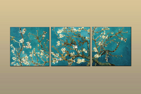 Framed/Unframed Large Modern Wall Art Canvas Prints Van Gogh Almond Blossom Painting Home Decor 3 pieces Posters Set Bedroom Decor abc543