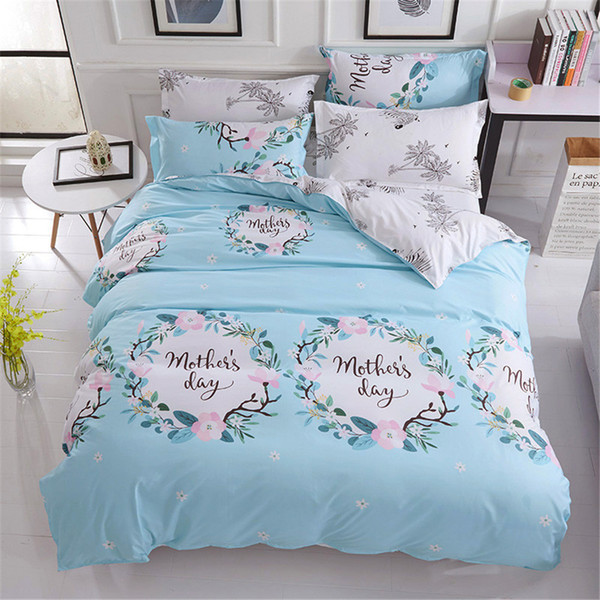 Fashion flower Letter fresh style blue bedding sets duvet cover white flat sheet pillowcase 4pcs girls gift home textie