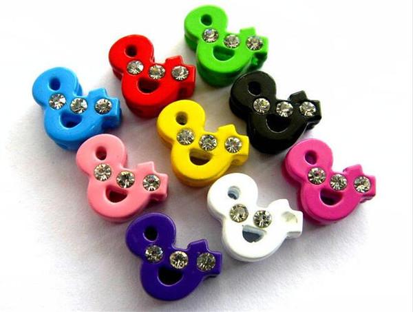 "Fashion 50pcs-100pcs 8mm Three Rhinestone Symbol ""&"" Slide Charms Mix Color Can Through 8mm Wristband & Bracelet Belt"