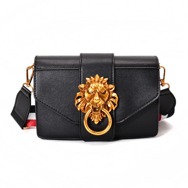Retro bolso de hombro de las mujeres de dama bolso de león de moda bolsa de mensajero mujer correa de la raya de la vendimia pequeña marca diseñador crossbody