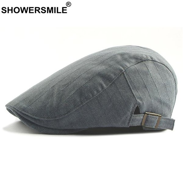 SHOWERSMILE Stripe Berets For Men Cotton Vintage Grey Flat Cap Male British Adjustable Summer Autumn Casual Ivy Duckbill Hat New