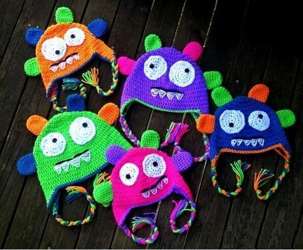 Automne Hiver Crochet Monster Tricoté Bonnet Nouveau-Né Infant Toddler Bébé Garçon Fille Chapeau De Noël Enfants Enfants Bande Dessinée Animal Beanie Fils
