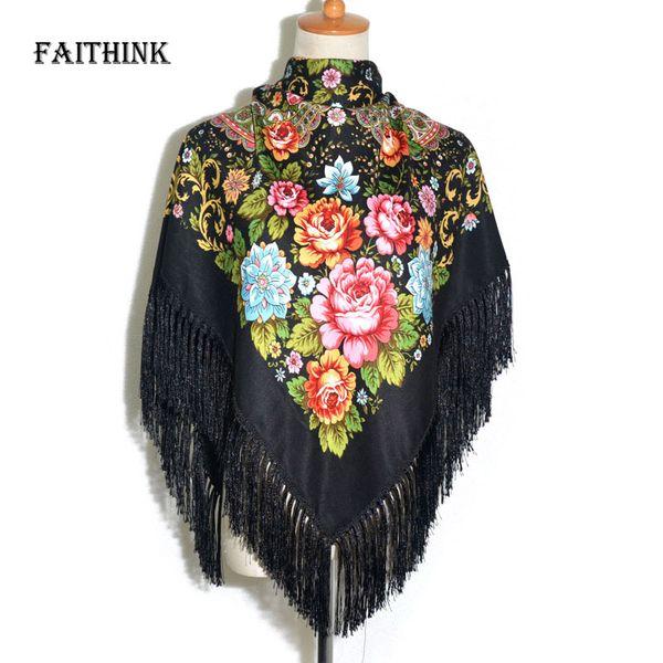 [FAITHINK] Moda Feminina Borla Lenço Clássico Floral Impresso Presente Do Xaile Do Russo Senhora De Algodão Quente Quadrado Envoltório Sombrinha Lenços