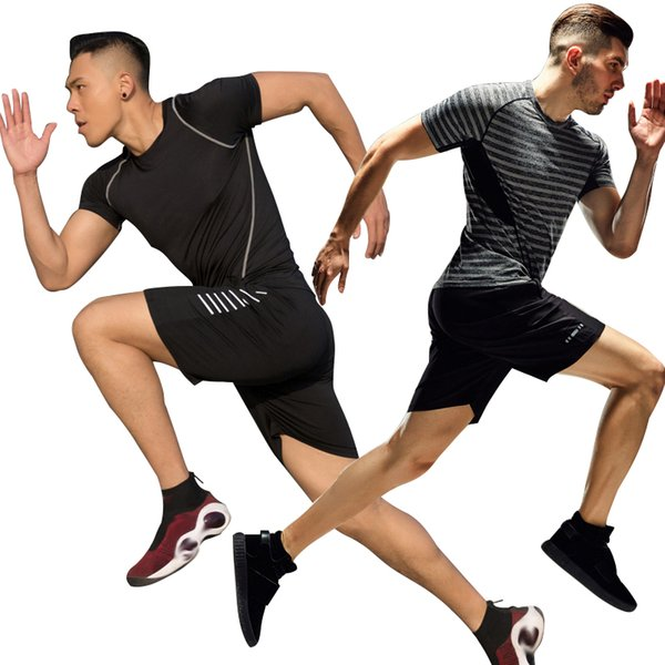 Summer Fitness Suits Men Run 2 Pieces/sets Compression Training Set Sports Soccer Basketball Quick Dry Tight T-shirt+Shorts Gym Sportswear