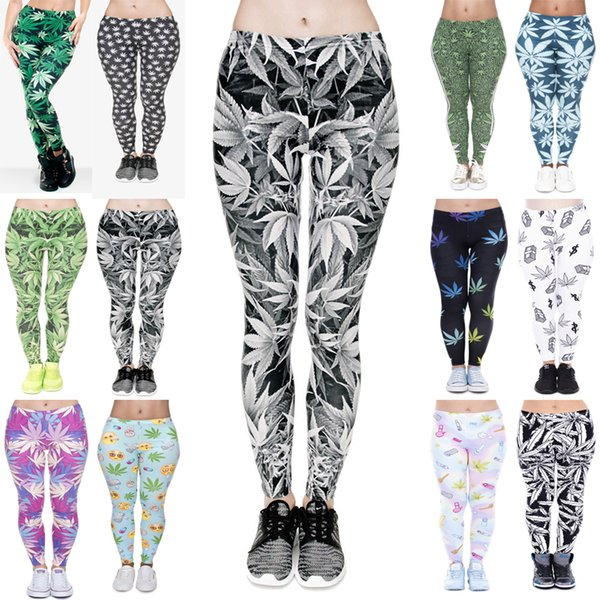 top popular Women Leggings 12 Styles Lucky Leaf 3D Graphic Print Girls Skinny Stretchy Yoga Wear Pants Lady Gym Fitness Pencil Fit Trousers (JL002) 2019