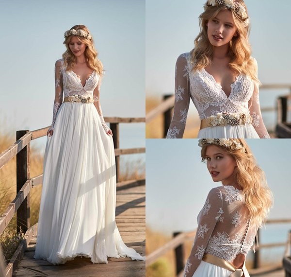 A Line Lace Beach Wedding Dresses Applique Chiffon V Neck Sweep Train Long Sleeve Country Wedding Gowns Belt Boho Bridal Dress Plus Size