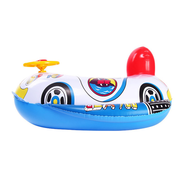 Gmarty 1Pc Summer Baby Inflatable Pool Ring lap Swim Seat Float Boat Baby Swim Pool Toys Car Shape Aid Trainer with Wheel Horn