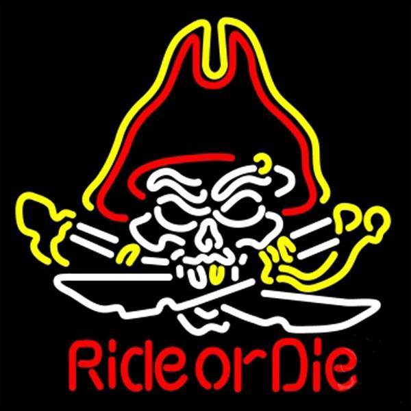 "Pirate Skull Ride Or Die Neon Sign Custom Hand-crafted Real Glass Tube Beer Bar Store KTV Club Hotel Display Neon Signs 20""X24"""