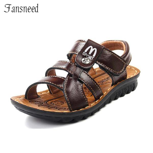 Çocuk sandalet Moda M alfabe boys yeni deri sandalet yaz sandalet meslek uygun çocuklar kaliteli ayakkabı