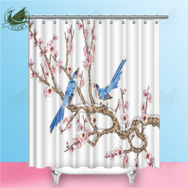 Vixm Oriental Style Running Horse Painting Traditional Ink Painting Shower Curtains Polyester Fabric Curtains For Home Decor
