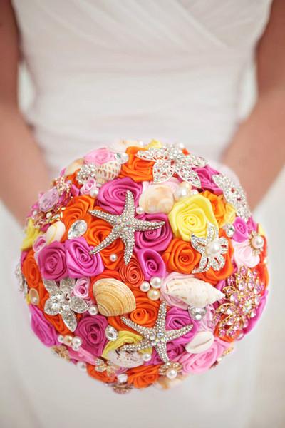 Custom Bridal Wedding Pink Orange Rose Korean DIY Brooch Holding Flowers Bridal Bridesmaid Bouquet