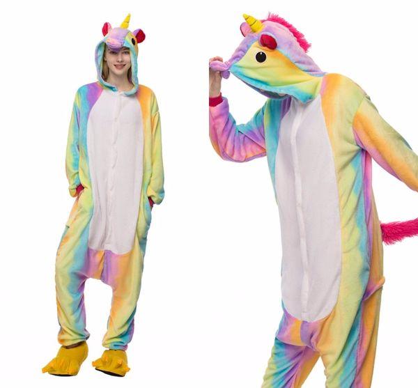 Cartoon Flannel Star Unicorn Warm Pajamas Adults Rainbow Unicorn One-piece Home Cosplay Nightwear Household Pajamas MC1405
