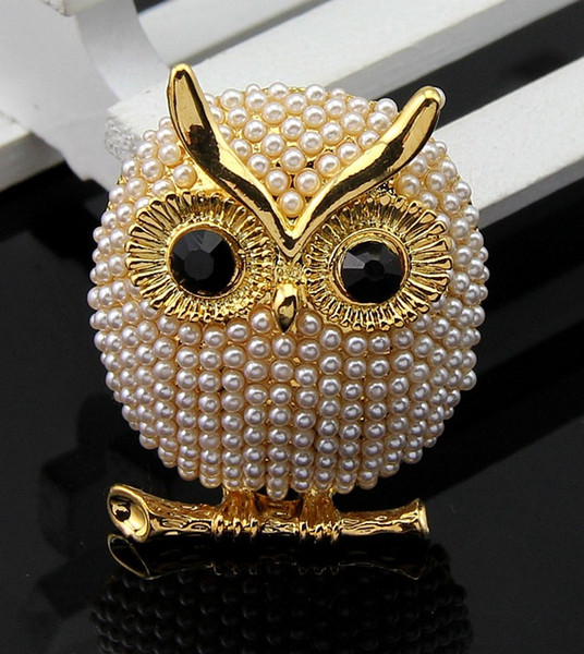 Hot sale New arrive Lovely simulated pearl owl brooches for girl women animal cute pins for party jewelry broche