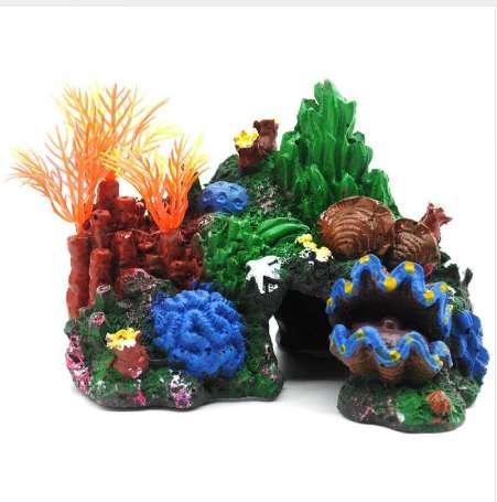 Vue sur la montagne coloré aquarium décoration rocaille cachette cave corail récif Shell Fish Tank ornement nouveau
