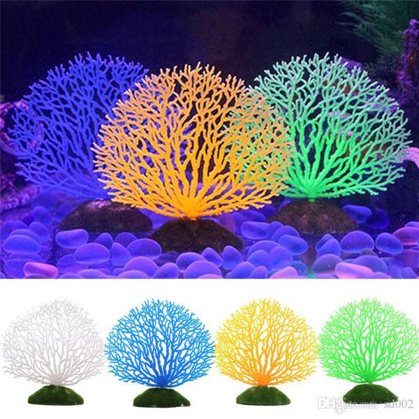 Boa Qualidade Artificial Planta Aquática Acessórios Do Tanque de Peixes Aquário Ornamento Sílica Gel Luminosa Simulação de Plantas de Coral Bardian 7 5 sl dd