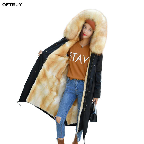 OFTBUY 2018 Mink Muskrat real fur coat winter jacket women parkas natural raccoon fur collar hood X-long thick warm streetwear