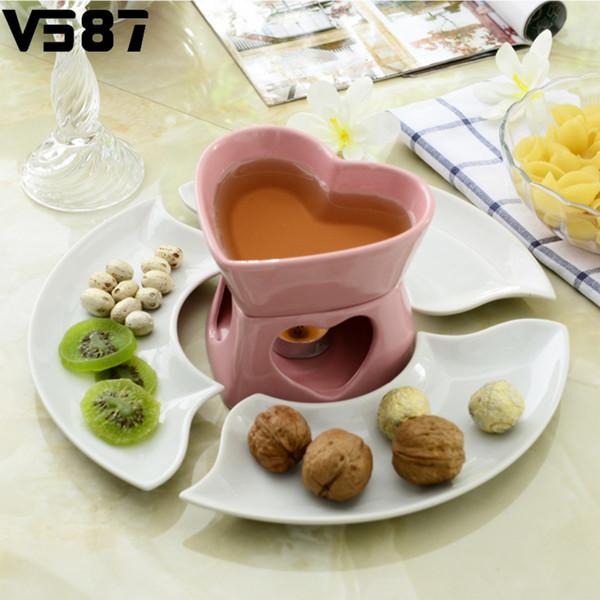 Herz Lovers `s Keramik Schokolade Fondue Set Fondue Dipper Käse Hot Pot Schüssel Melting Schüssel Tray Home Küche Käse Werkzeuge