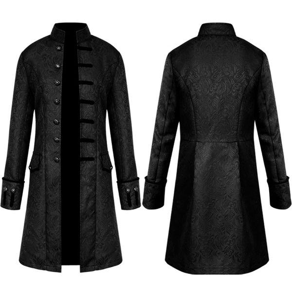 Hombres Steampunk Brocade Jacket Top Hombre Vintage Chaqueta de manga larga Gothic Steampunk Vintage Victoriano Largo Tamaño grande 4XL Negro Cool Coat